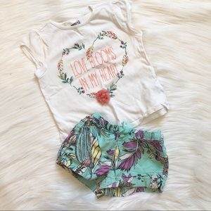 Love Blooms 3t Top 2t Shorts